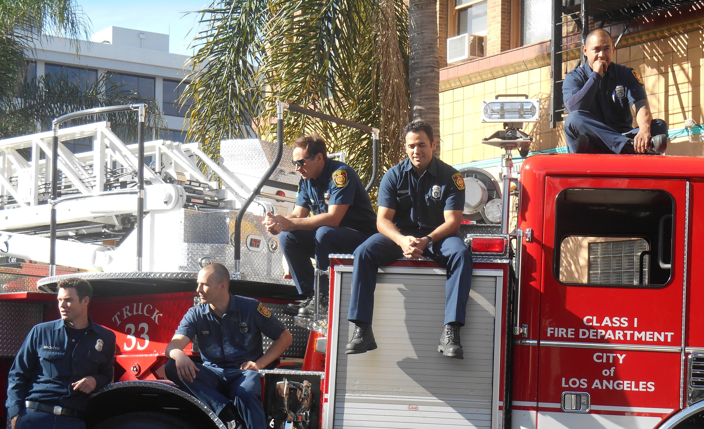 Sexy LAFD caught looking like a photo shoot on duty.